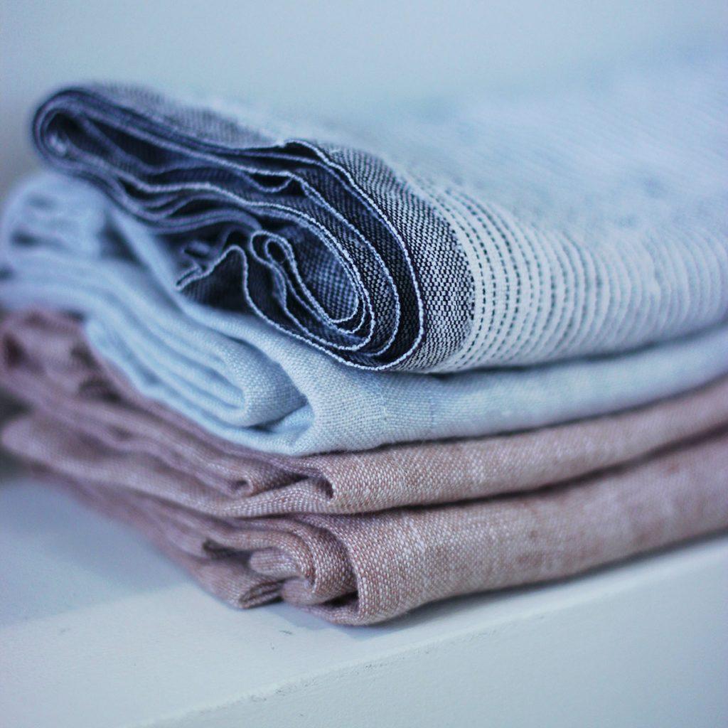Stack of linen fabrics